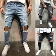 Fashion Side Pockets Ripped Slim Fit Man's Denim Pants