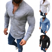 Fashion Stand Collar Front Buttons Long Sleeve Slim Fit Man's Shirt