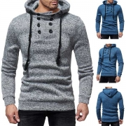 Fashion Solid Color Double-breasted Long Sleeve Men's Sweatshirt
