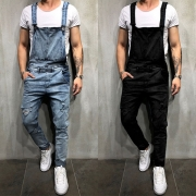 Fashion Solid Color Distressed Slim Fit Men's Denim Overalls
