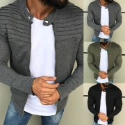 Fashion Solid Color Long Sleeve Stand Collar Men's Thin Cardigan Coat