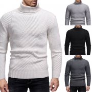 Fashion Solid Color Long Sleeve Turtleneck Men's Sweater