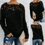 Fashion Lace Spliced Long Sleeve Solid Color Sweater