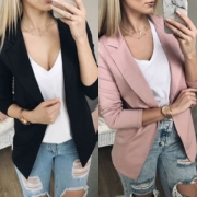 Fashion Solid Color Long Sleeve Slim Fit Blazer
