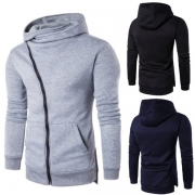 Fashion Solid Color Oblique Zipper Long Sleeve Slim Fit Side Pockets Men's Hooded Sweatshirt