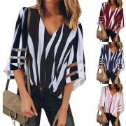 Fashion Trumpet Sleeve V-neck Striped Blouse