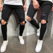 Fashion Hollow Out Ripped Men's Jeans