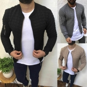 Fashion Solid Color Long Sleeve Stand Collar Man's Cardigan
