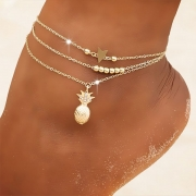 Bohemian Style Pineapple Star Pendant Three-layer Anklet