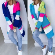 Fashion Contrast Color Long Sleeve Hooded Thin Knit Cardigan