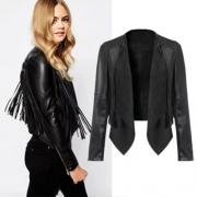 Fashion Long Sleeve Lapel Irregular Hem Tassel PU Leather Jacket