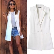 Fashion Solid color Double-breasted Sleeveless Blazer Vest