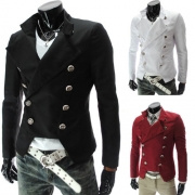 Fashion Solid Color Long Sleeve Double-breasted Men's Blazer