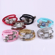 Retro Snake Shaped Braided Watch Band Square Dial Bracelet Watch