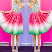 Sweet Dots Watermelon Printed Elastic Waist Skirt