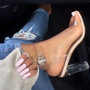 Fashion Thick High Heel Open Toe Transparent Sandals