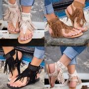 Bohemian Style Flat Heel Rivets Tassel Thong Sandals