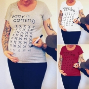 Fashion Letters Printed Short Sleeve Round Neck Maternity T-shirt