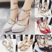 Sexy High-heeled Pointed Toe Ankle Strap Rivets Pumps