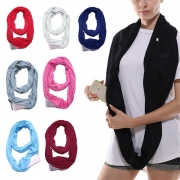 Fashion Solid Color Zipper Pocket Infinity Scarf