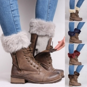 Fashion Faux Fur Spliced Knit Leg Warmers