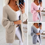 Fashion Solid Color Long Sleeve Front-pocket Knit Thin Cardigan