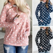 Fashion Long Sleeve Heart Printed Hooded Sweatshirt