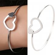 Fashion Hollow Out Heart Silver-tone Bracelet