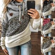 Fashion Contrast Color Leopard Printed Spliced Long Sleeve Hooded Sweatshirt