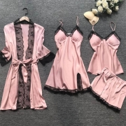 Sexy Solid Color Lace Spliced Nightwear Four-piece Set