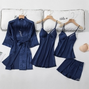 Sexy Solid Color Sling Top + Shorts + Sling Dress + Robe Nightwear Four-piece Set