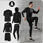 Sports Style Solid Color Quick-dry Breathable Sports Five-piece Set