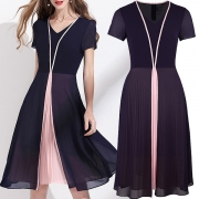 Elegant Style Short Sleeve V-neck Contrast Color Pleated Hem Chiffon Dress