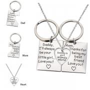 Chic Style Letters  Engraved Heart Pendant Parent-child Key Chain Necklace Set