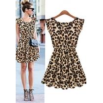 Fashion Leopard O-Neck Sleeveless Dress