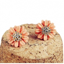 Countryside Style Elegant Orange Daisy Studs Earrings