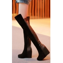 Roman Style Elegant Simple Pure Color Wedge Over-the-Keen Boots