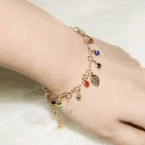 Fashion All-match Leaf Tassels Rhinestone Bracelet /Anklet