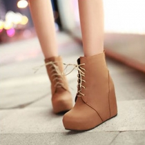Stylish Elegant Roman Style Pure Color Wedge Lace-up Booties