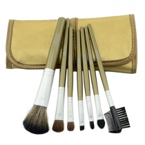 Fashion Sweet Aluminum 7Pcs  Professional  Kit Brush Lot Makeup Brushes Cosmetic Make Up Set