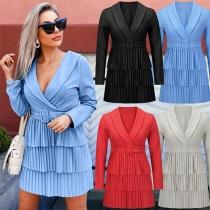 OL Style Long Sleeve Notched Lapel Pleated Hem Dress