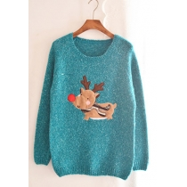 Loose Warm Festive Vintage Christmas Sweet Crewneck Fawn Cute Sweater