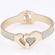 Tone Romantic Double Heart Bangle Bracelet