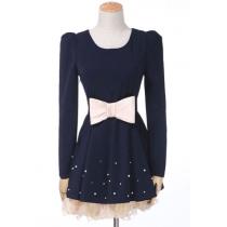 British Style Elegant Lace Spliced Bowknot Beaded Dress