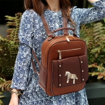 Vintage Contrast Color Horse Rivet Backpack Bag