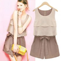 Two-layer Tank Top Bow Belt Shorts Romper Playsuit