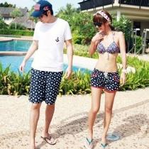 Matching Couple Swimsuit Stars Print Bikini Top Shorts
