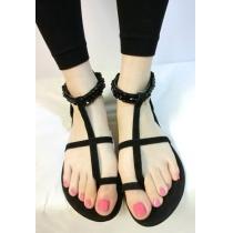 Summer Black Cross Strap Beaded Flat Thong Sandal