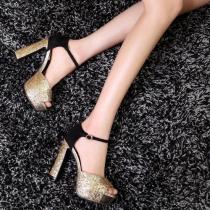 Sequined Peep Toe High Block Heel Platform Sandal