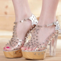 Spiked Rivets Clear High Block Heel Platform Peep-toe Sandal